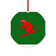 Christmas Skier Ornament (Round)