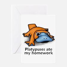 Platypuses ate my homework Greeting Card