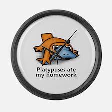 Platypuses ate my homework Large Wall Clock