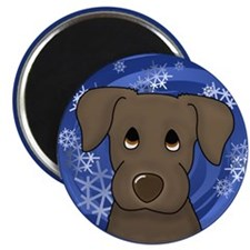 Blue Snowflakes Chocolate Lab Holiday Magnet