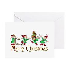 merry christmas elves Greeting Card