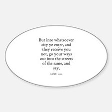 LUKE 10:10 Oval Decal
