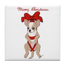 Chihuahua Christmas Ribbon Tile Coaster