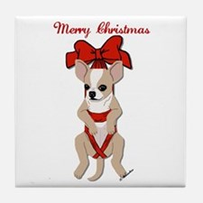 Chihuahua Christmas Ribbon Tile Coaster