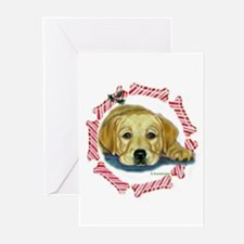 Holly Yellow Lab Pup Xmas Greeting Cards (Package