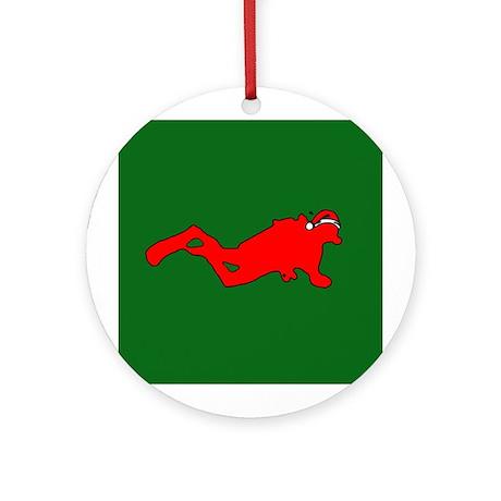 Christmas SCUBA Diver Ornament (Round)