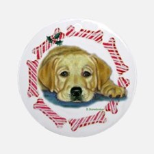 Holly Lab Pup Xmas Ornament (Round)