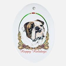 Bulldog Breed Holiday Oval Ornament