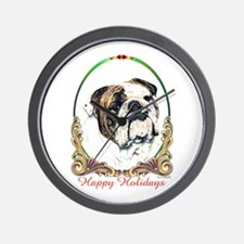 Bulldog Happy Holiday Wall Clock