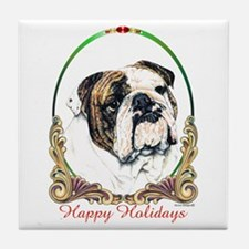 Bulldog Happy Holiday Tile Coaster