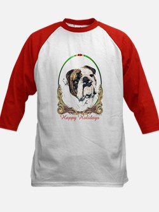 Bulldog Happy Holiday Kids Baseball Jersey