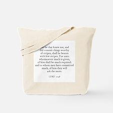 LUKE  12:48 Tote Bag