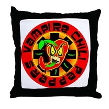Vampire Chili Peppers Red Throw Pillow