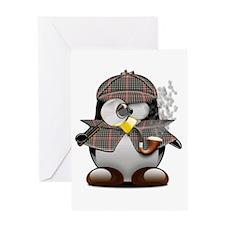Shelock Penguin Greeting Card