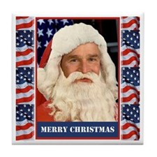 A Pro Bush Christmas Patriotic Tile Coaster