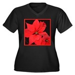 Poinsettia Women's Plus Size V-Neck Dark T-Shirt