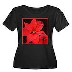 Poinsettia Women's Plus Size Scoop Neck Dark T-Shi