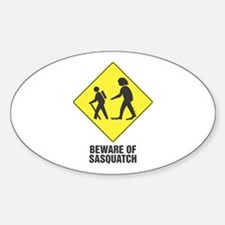 Beware of Sasquatch Oval Stickers