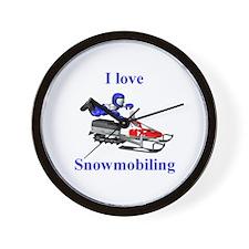 I Love Snowmobiling Wall Clock