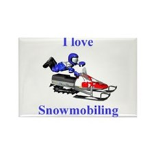 I Love Snowmobiling Rectangle Magnet