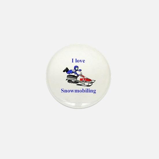 I Love Snowmobiling Mini Button