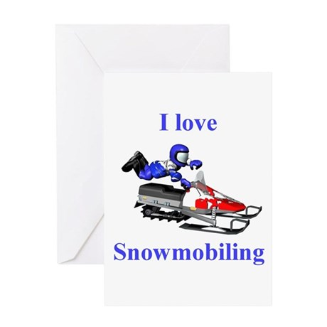 I Love Snowmobiling Greeting Card