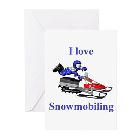 I Love Snowmobiling Greeting Cards (Pk of 20)
