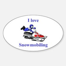 I Love Snowmobiling Oval Decal