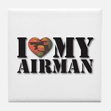 Love My Airman Tile Coaster
