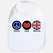 Peace Love Britain Bib