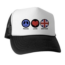 Peace Love Britain Trucker Hat