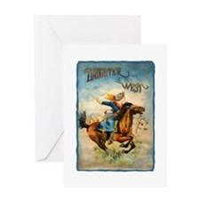 Vintage Cowgirl Roping Greeting Card