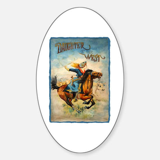 Vintage Cowgirl Roping Oval Decal