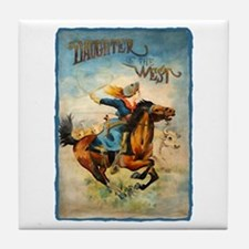 Vintage Cowgirl Roping Tile Coaster