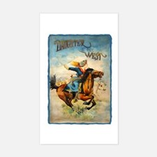 Vintage Cowgirl Roping Rectangle Decal