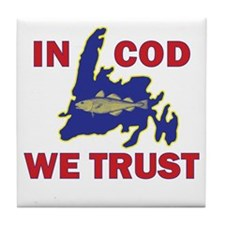 In Cod We Trust Tile Coaster