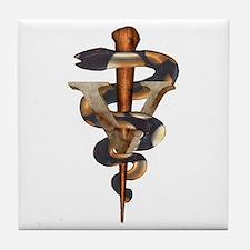 Veterinary Caduceus Tile Coaster