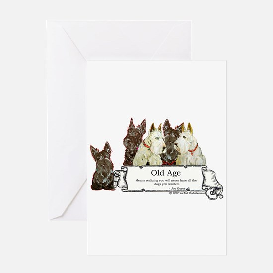 Old Age Scottish Terriers Greeting Card