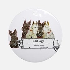 Old Age Scottish Terriers Ornament (Round)
