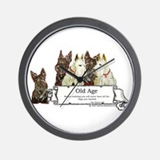 Old Age Scottish Terriers Wall Clock