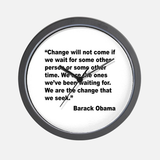 Obama We Are The Change Quote Wall Clock