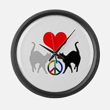 Love & peace Large Wall Clock