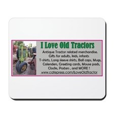I Love Old Tractors logo Mousepad