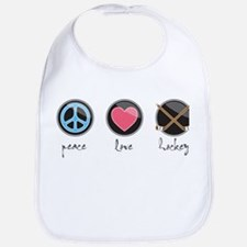 Cute Peace love hockey Bib
