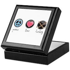 Funny Peace love cure heart symbol ribbon Keepsake Box