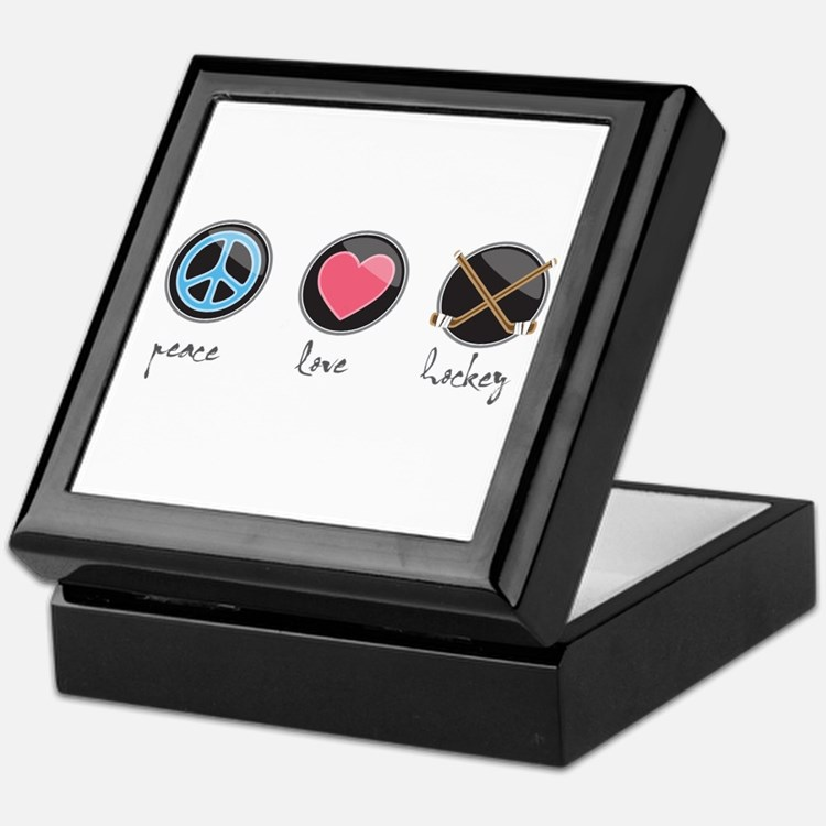 Cute Peace love hockey Keepsake Box