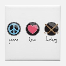 Cute Peace love hockey womens Tile Coaster