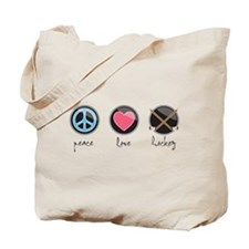 Cute Peace love hockey Tote Bag