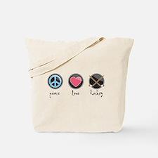 Cute Peace love hockey Tote Bag
