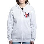 UK Victory Peace Sign Women's Zip Hoodie